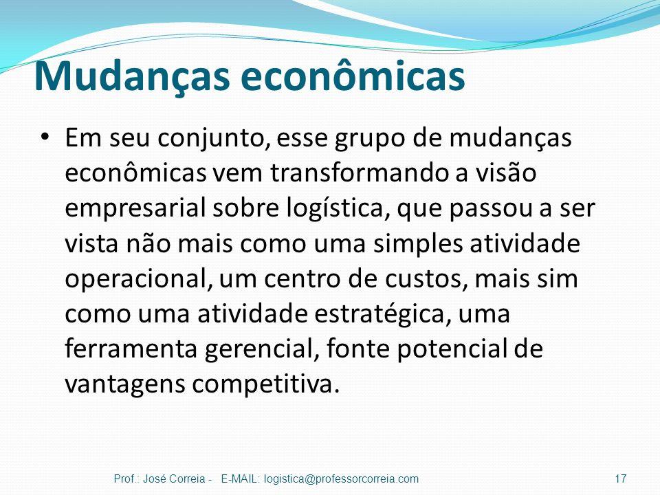Mudanças econômicas Prof.: José Correia - E-MAIL: logistica@professorcorreia.com17 Em seu conjunto, esse grupo de mudanças econômicas vem transformand