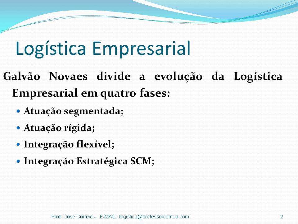 Logística Empresarial Galvão Novaes divide a evolução da Logística Empresarial em quatro fases: Atuação segmentada; Atuação rígida; Integração flexíve