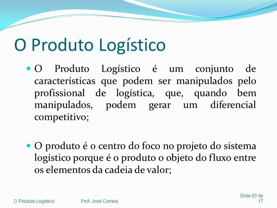 O Produto LogísticoProf. José Correia Slide 20 de 17 O Produto Logístico O Produto Logístico é um conjunto de características que podem ser manipulado