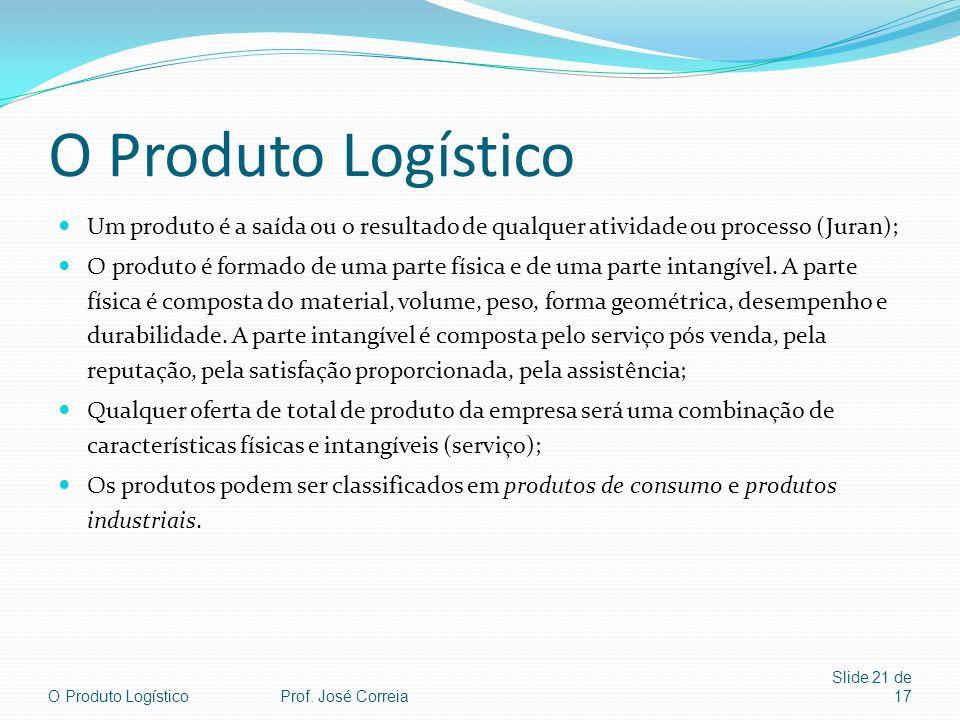 O Produto Logístico Slide 21 de 17 O Produto Logístico Um produto é a saída ou o resultado de qualquer atividade ou processo (Juran); O produto é form