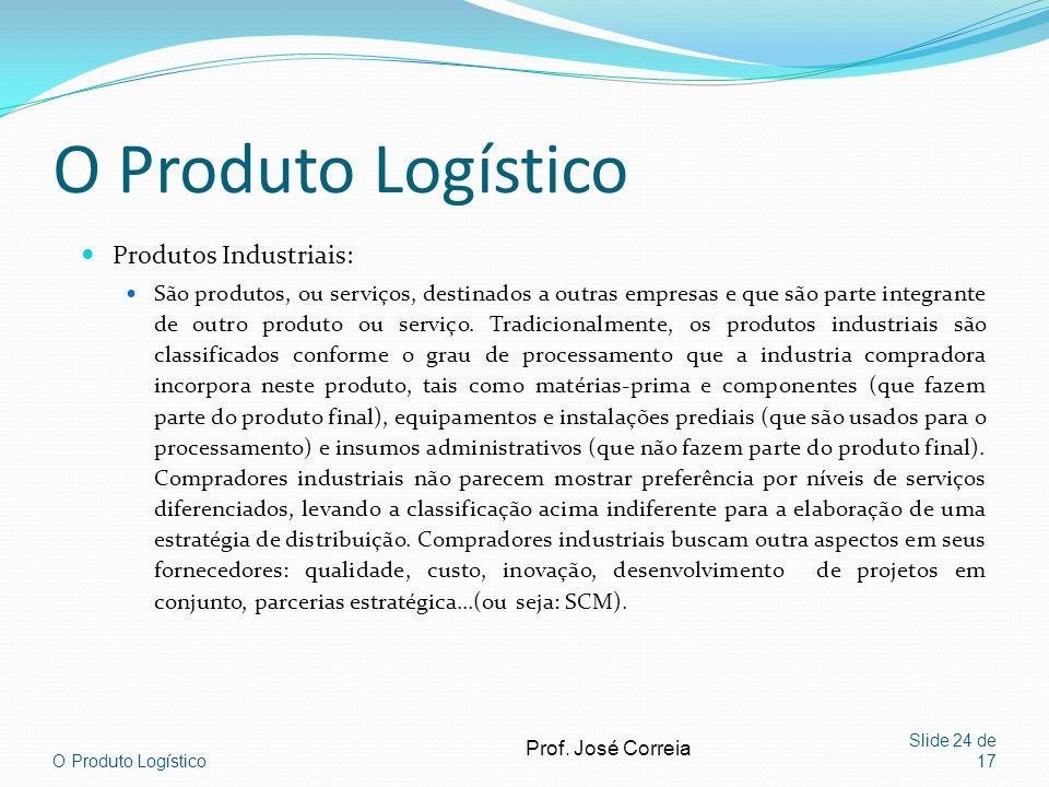 O Produto Logístico Slide 24 de 17 O Produto Logístico Produtos Industriais: São produtos, ou serviços, destinados a outras empresas e que são parte i