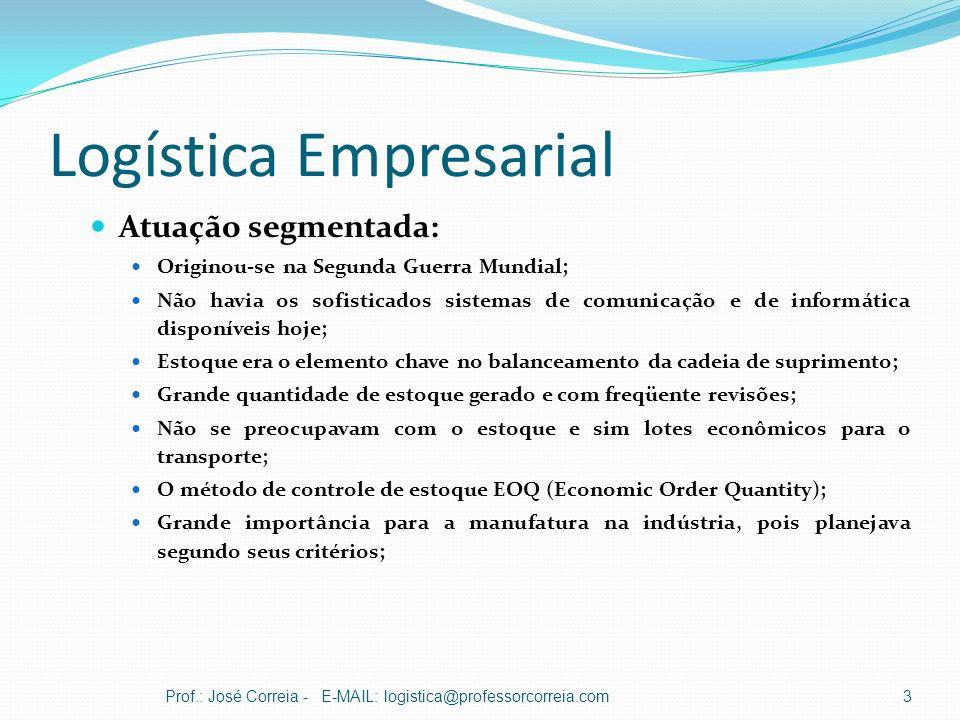 Logística Empresarial Atuação segmentada: Originou-se na Segunda Guerra Mundial; Não havia os sofisticados sistemas de comunicação e de informática di