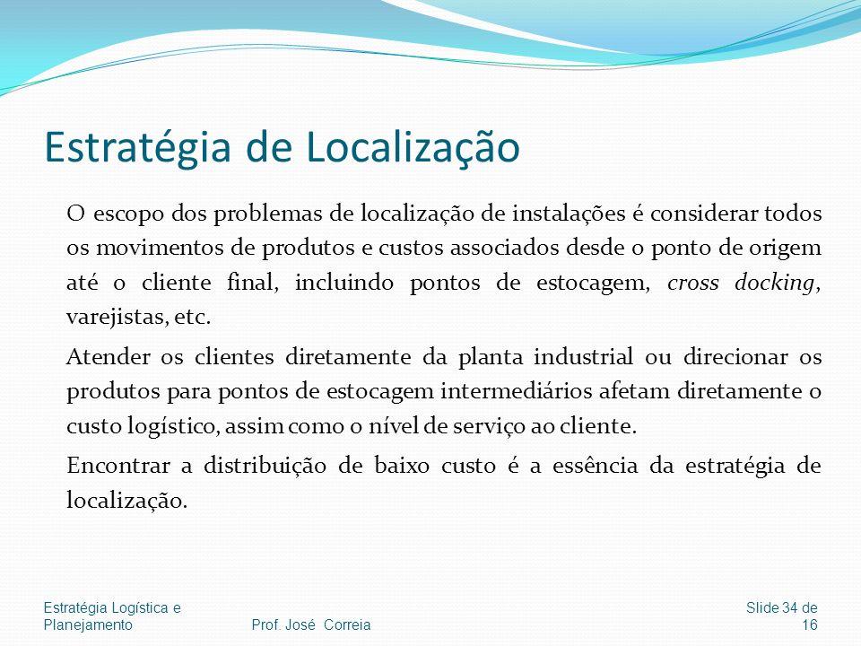 Estratégia Logística e Planejamento Slide 34 de 16 Estratégia de Localização O escopo dos problemas de localização de instalações é considerar todos o