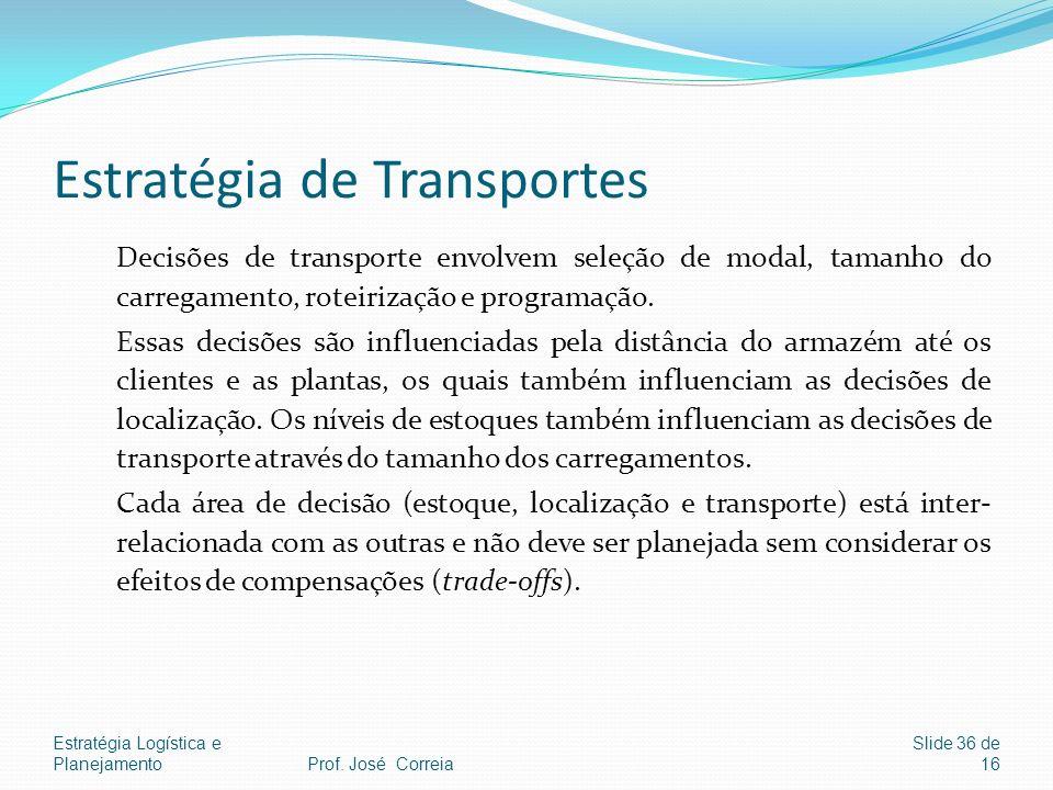 Estratégia Logística e Planejamento Slide 36 de 16 Estratégia de Transportes Decisões de transporte envolvem seleção de modal, tamanho do carregamento