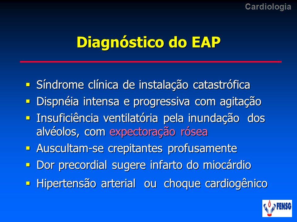 Cardiologia Diagnóstico do EAP Síndrome clínica de instalação catastrófica Síndrome clínica de instalação catastrófica Dispnéia intensa e progressiva