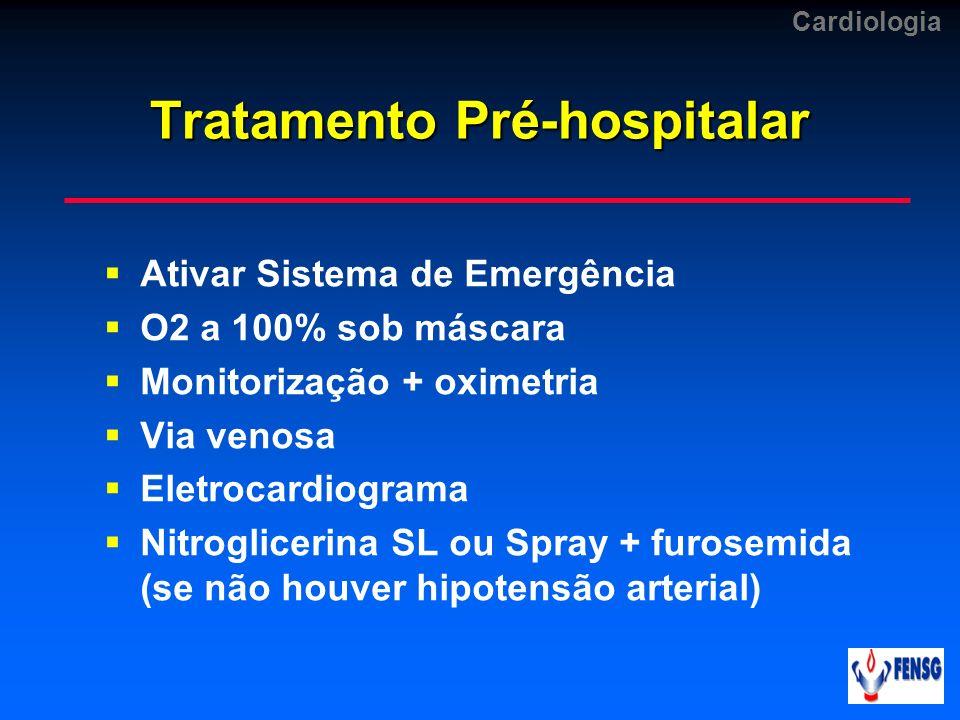 Tratamento Pré-hospitalar Ativar Sistema de Emergência O2 a 100% sob máscara Monitorização + oximetria Via venosa Eletrocardiograma Nitroglicerina SL