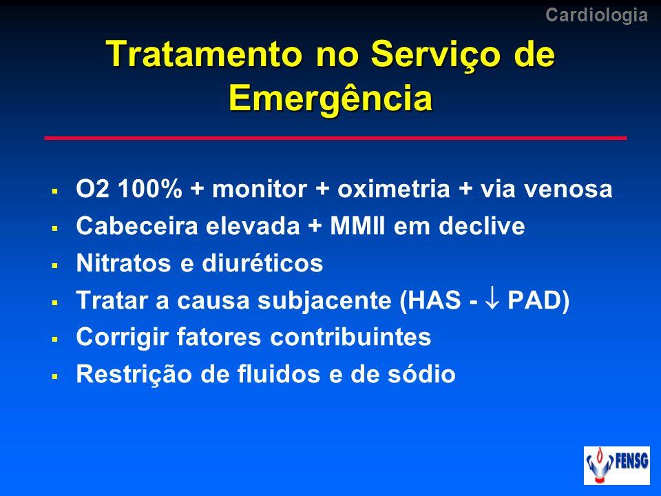 Cardiologia Tratamento no Serviço de Emergência O2 100% + monitor + oximetria + via venosa Cabeceira elevada + MMII em declive Nitratos e diuréticos T