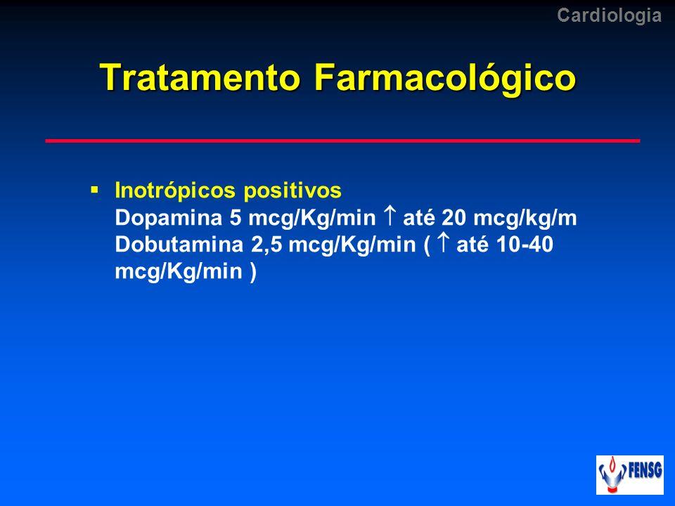 Cardiologia Tratamento Farmacológico Inotrópicos positivos Dopamina 5 mcg/Kg/min até 20 mcg/kg/m Dobutamina 2,5 mcg/Kg/min ( até 10-40 mcg/Kg/min )