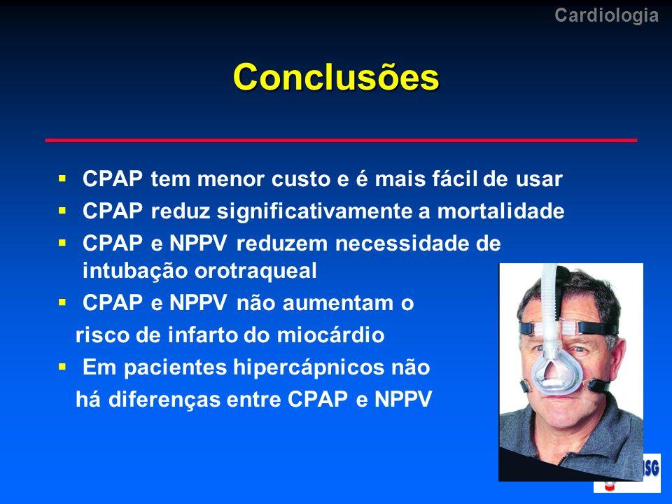 CardiologiaConclusões CPAP tem menor custo e é mais fácil de usar CPAP reduz significativamente a mortalidade CPAP e NPPV reduzem necessidade de intub