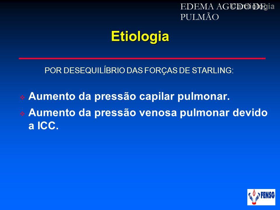 CardiologiaEtiologia POR DESEQUILÍBRIO DAS FORÇAS DE STARLING: Aumento da pressão capilar pulmonar. Aumento da pressão venosa pulmonar devido a ICC. E