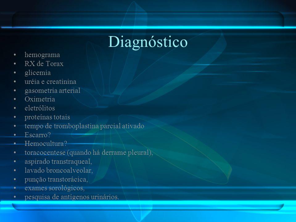 Diagnóstico hemograma RX de Torax glicemia uréia e creatinina gasometria arterial Oximetria eletrólitos proteínas totais tempo de tromboplastina parci