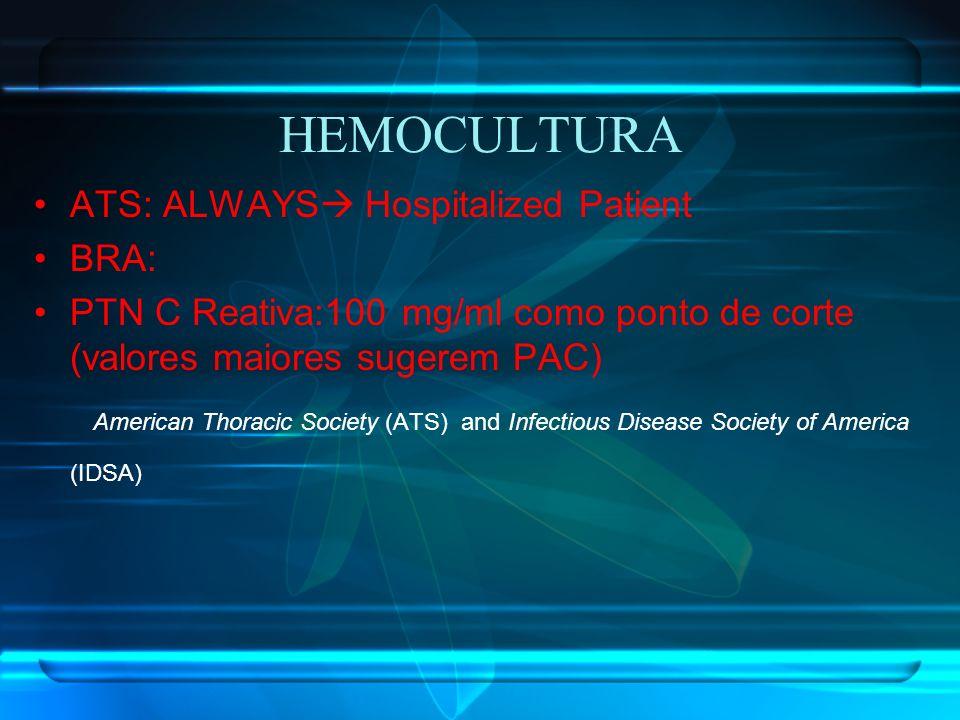 HEMOCULTURA ATS: ALWAYS Hospitalized Patient BRA: PTN C Reativa:100 mg/ml como ponto de corte (valores maiores sugerem PAC) American Thoracic Society