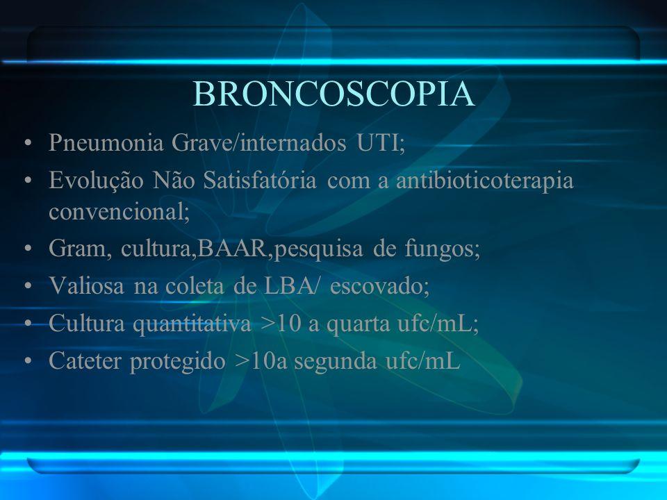 BRONCOSCOPIA Pneumonia Grave/internados UTI; Evolução Não Satisfatória com a antibioticoterapia convencional; Gram, cultura,BAAR,pesquisa de fungos; V