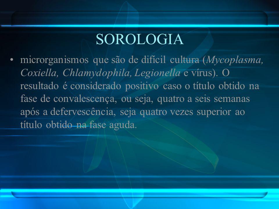 SOROLOGIA microrganismos que são de difícil cultura (Mycoplasma, Coxiella, Chlamydophila, Legionella e vírus). O resultado é considerado positivo caso