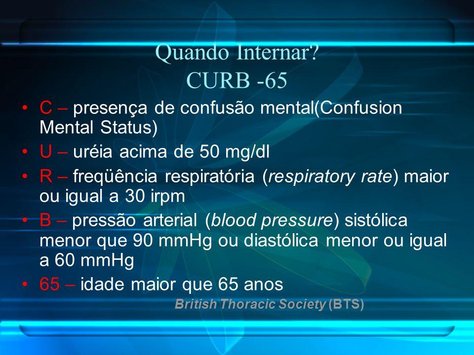 Quando Internar? CURB -65 C – presença de confusão mental(Confusion Mental Status) U – uréia acima de 50 mg/dl R – freqüência respiratória (respirator