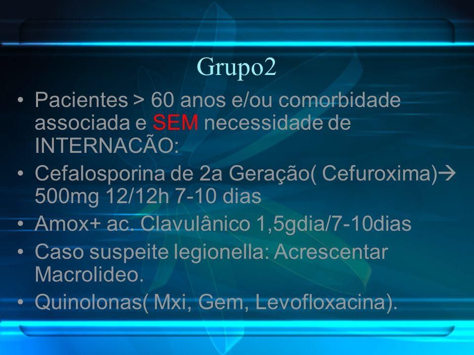 Grupo2 Pacientes > 60 anos e/ou comorbidade associada e SEM necessidade de INTERNACÃO: Cefalosporina de 2a Geração( Cefuroxima) 500mg 12/12h 7-10 dias