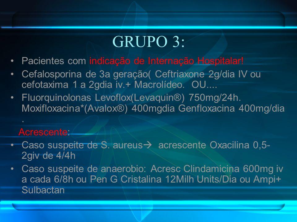 GRUPO 3: Pacientes com indicação de Internação Hospitalar! Cefalosporina de 3a geração( Ceftriaxone 2g/dia IV ou cefotaxima 1 a 2gdia iv.+ Macrolídeo.