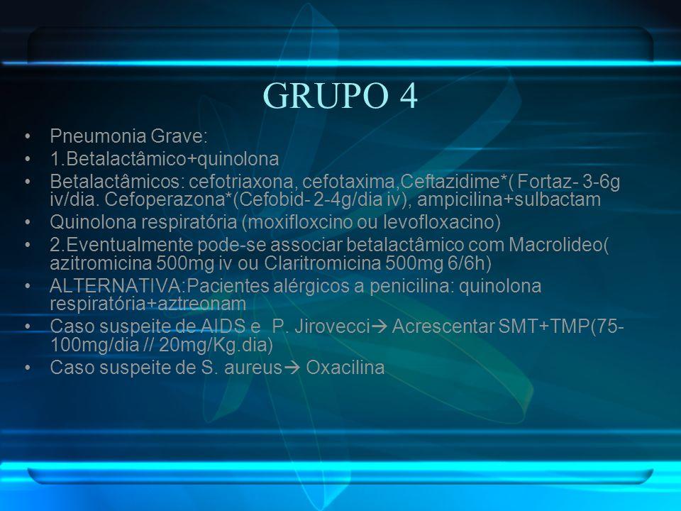 GRUPO 4 Pneumonia Grave: 1.Betalactâmico+quinolona Betalactâmicos: cefotriaxona, cefotaxima,Ceftazidime*( Fortaz- 3-6g iv/dia. Cefoperazona*(Cefobid-
