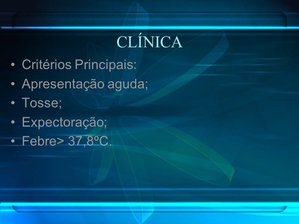 CLÍNICA Critérios Principais: Apresentação aguda; Tosse; Expectoração; Febre> 37,8ºC.