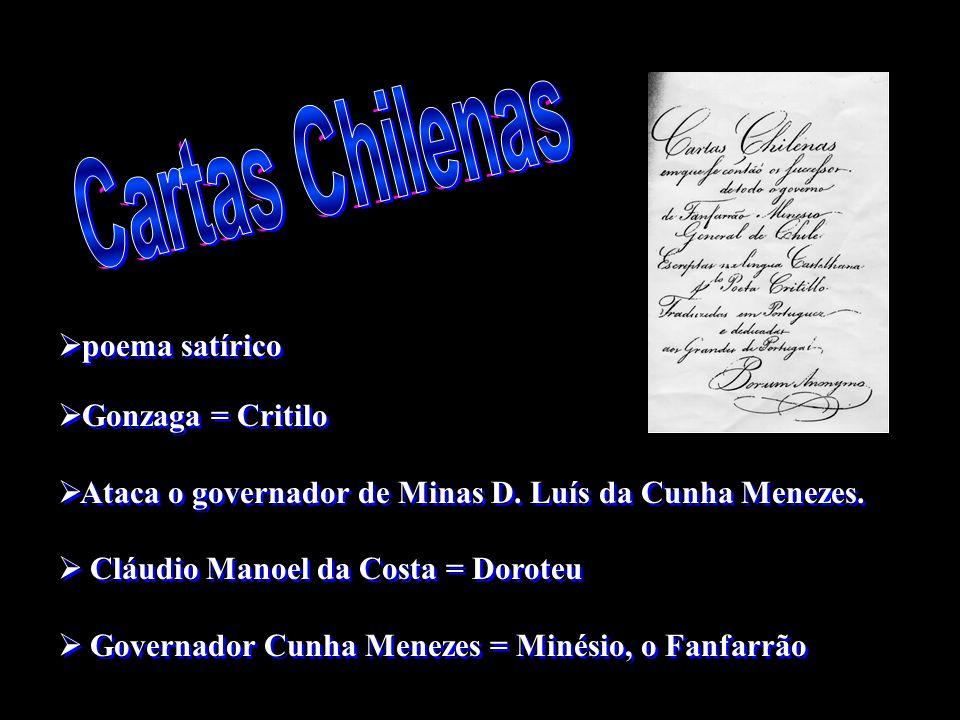 poema satírico Gonzaga = Critilo Ataca o governador de Minas D. Luís da Cunha Menezes. Cláudio Manoel da Costa = Doroteu Governador Cunha Menezes = Mi