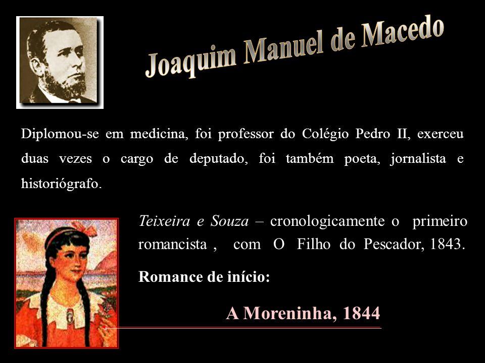 Teixeira e Souza – cronologicamente o primeiro romancista, com O Filho do Pescador, 1843. Romance de início: A Moreninha, 1844 Diplomou-se em medicina