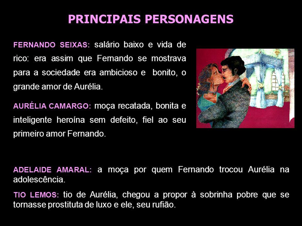 FERNANDO SEIXAS: salário baixo e vida de rico: era assim que Fernando se mostrava para a sociedade era ambicioso e bonito, o grande amor de Aurélia. A