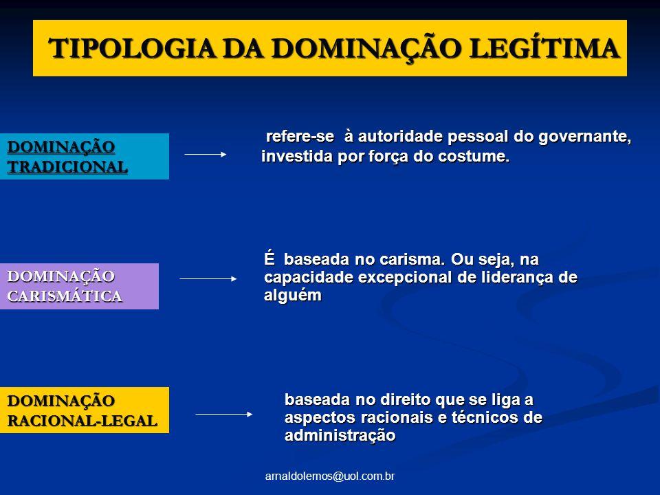 arnaldolemos@uol.com.br TIPOLOGIA DA DOMINAÇÃO LEGÍTIMA TIPOLOGIA DA DOMINAÇÃO LEGÍTIMA DOMINAÇÃO TRADICIONAL refere-se à autoridade pessoal do govern