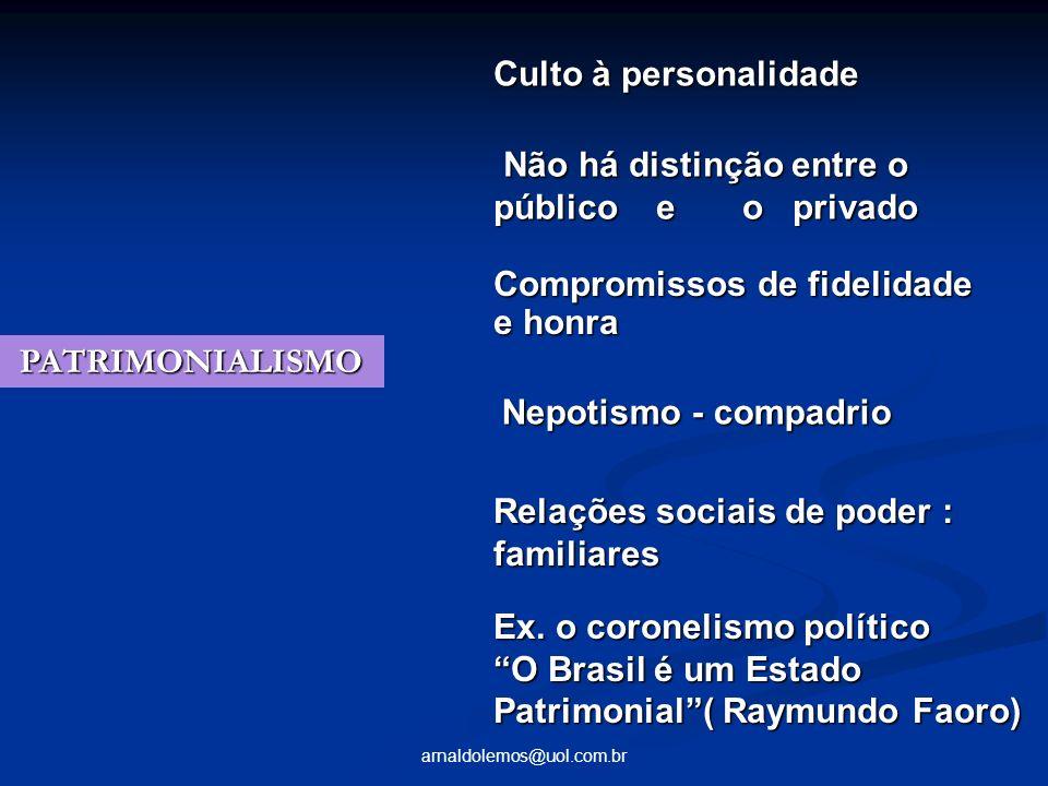 arnaldolemos@uol.com.br PATRIMONIALISMO PATRIMONIALISMO Culto à personalidade Não há distinção entre o público e o privado Não há distinção entre o pú