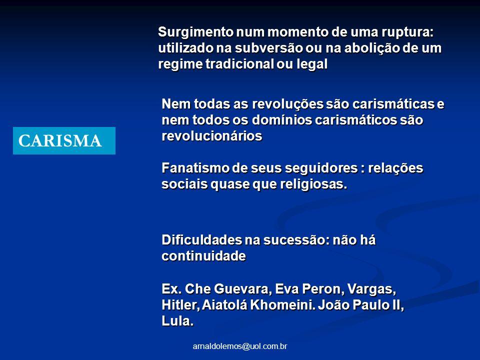 arnaldolemos@uol.com.br CARISMA Surgimento num momento de uma ruptura: utilizado na subversão ou na abolição de um regime tradicional ou legal Nem tod