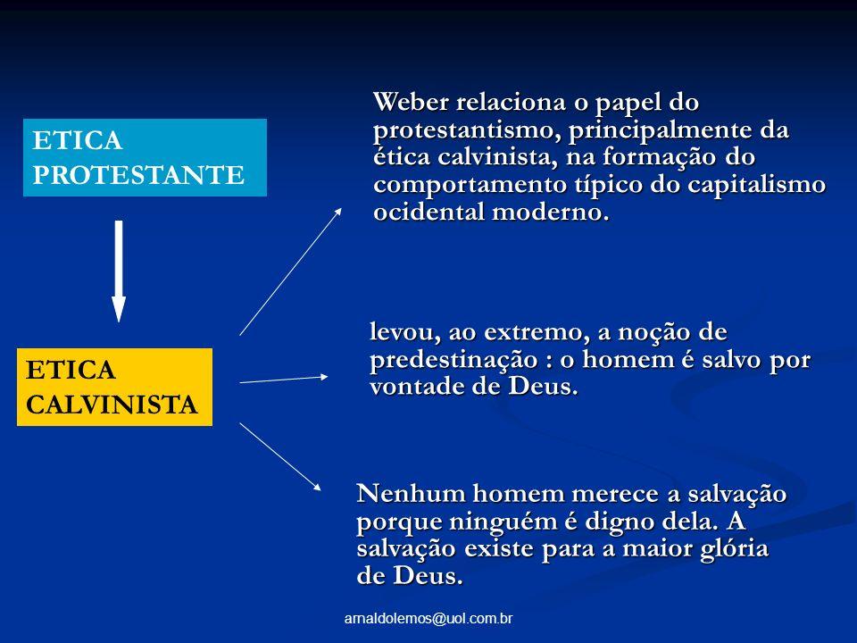 arnaldolemos@uol.com.br ETICA CALVINISTA levou, ao extremo, a noção de predestinação : o homem é salvo por vontade de Deus. Nenhum homem merece a salv