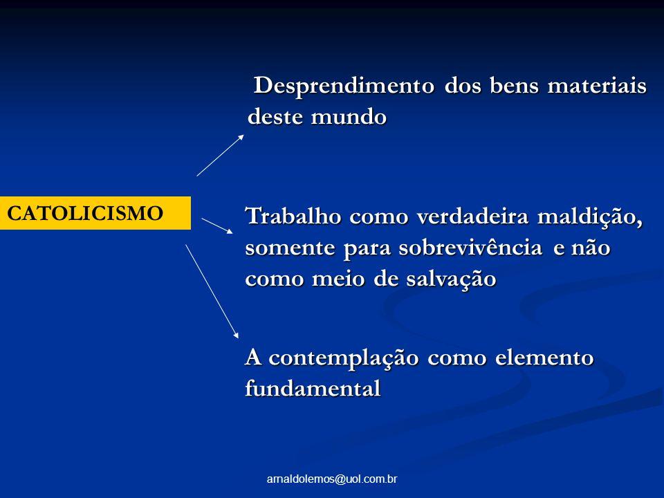arnaldolemos@uol.com.br CATOLICISMO Desprendimento dos bens materiais deste mundo Desprendimento dos bens materiais deste mundo Trabalho como verdadei