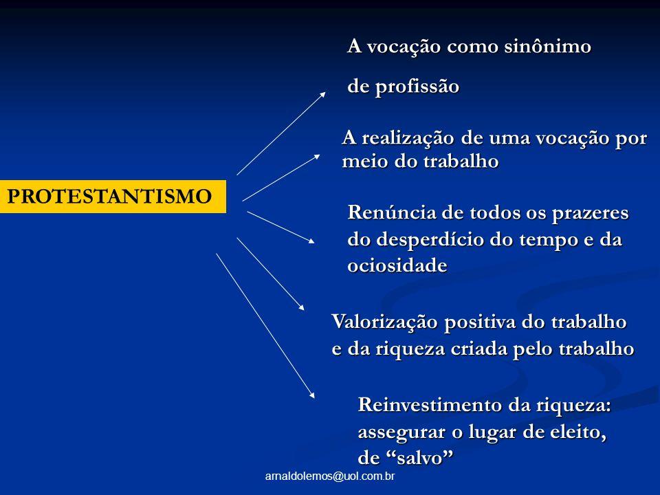 arnaldolemos@uol.com.br PROTESTANTISMO A vocação como sinônimo de profissão A realização de uma vocação por meio do trabalho Renúncia de todos os praz