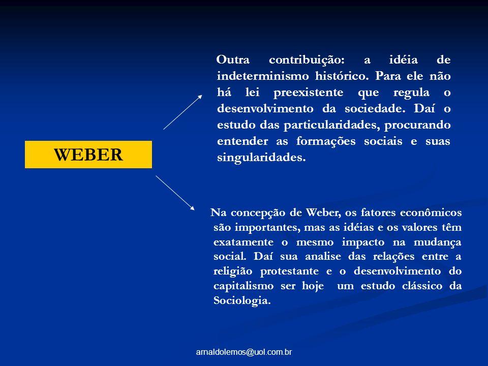 arnaldolemos@uol.com.br Na concepção de Weber, os fatores econômicos são importantes, mas as idéias e os valores têm exatamente o mesmo impacto na mud