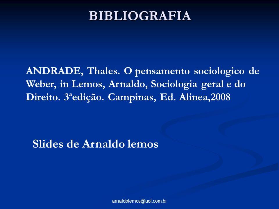 arnaldolemos@uol.com.br BIBLIOGRAFIA ANDRADE, Thales. O pensamento sociologico de Weber, in Lemos, Arnaldo, Sociologia geral e do Direito. 3ªedição. C