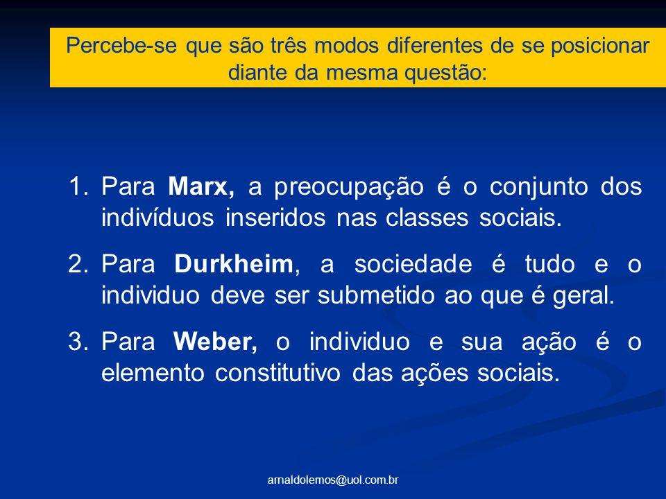 arnaldolemos@uol.com.br 1.Para Marx, a preocupação é o conjunto dos indivíduos inseridos nas classes sociais. 2.Para Durkheim, a sociedade é tudo e o