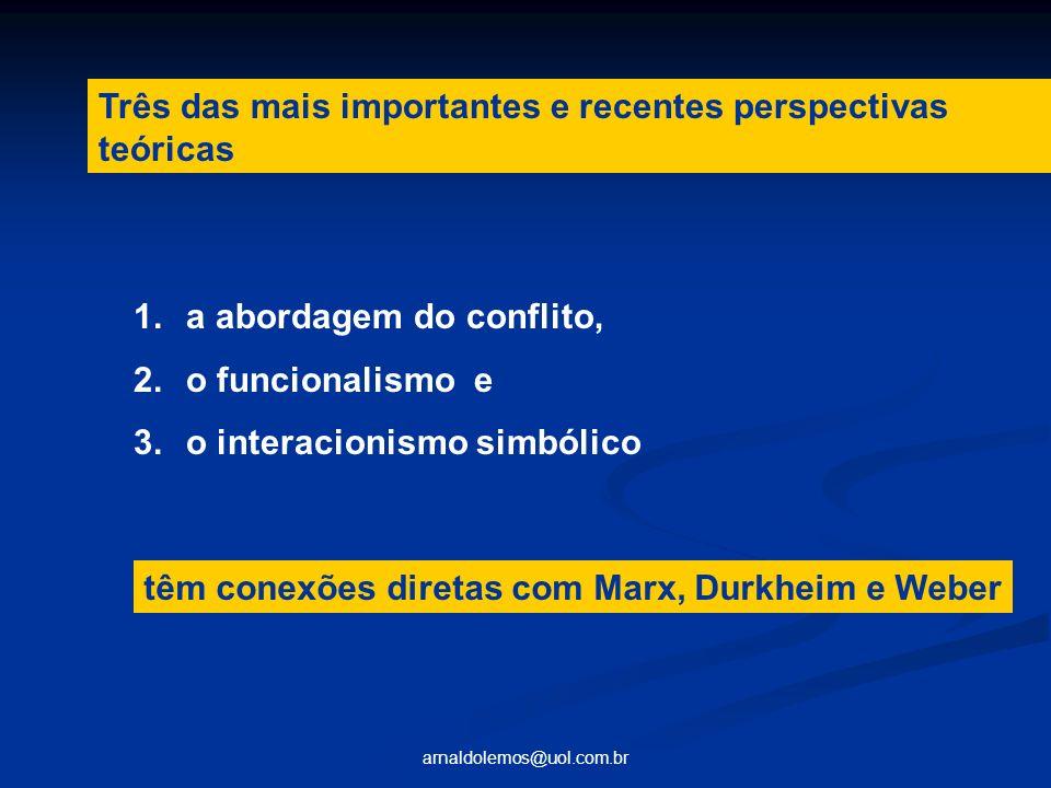 arnaldolemos@uol.com.br 1.a abordagem do conflito, 2.o funcionalismo e 3.o interacionismo simbólico Três das mais importantes e recentes perspectivas