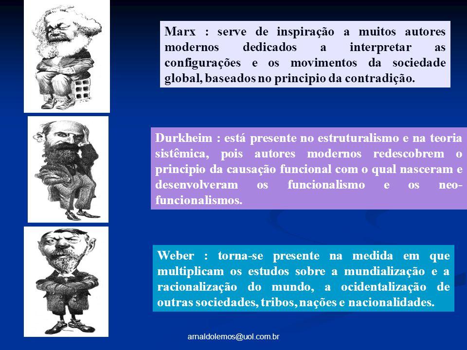 arnaldolemos@uol.com.br Marx : serve de inspiração a muitos autores modernos dedicados a interpretar as configurações e os movimentos da sociedade glo