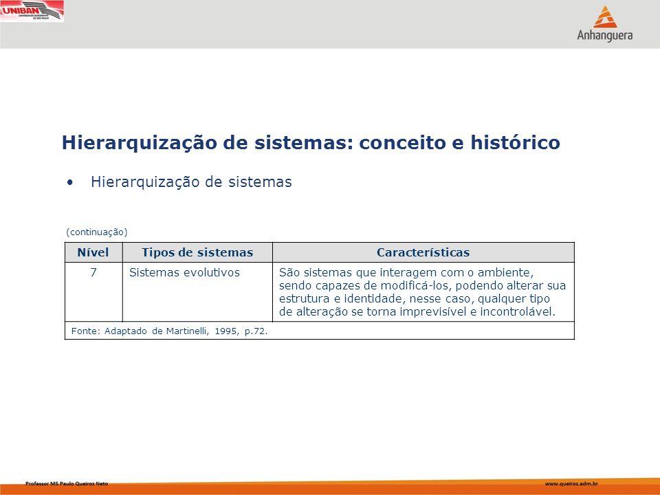 Hierarquização de sistemas Hierarquização de sistemas: conceito e histórico (continuação) NívelTipos de sistemasCaracterísticas 7Sistemas evolutivosSã