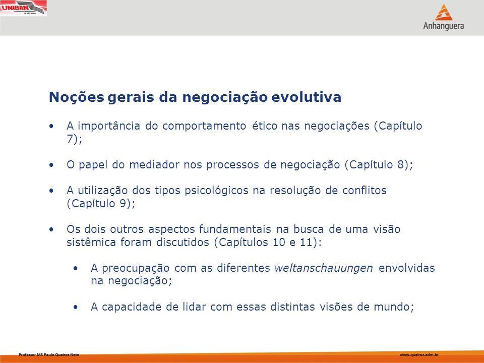 A importância do comportamento ético nas negociações (Capítulo 7); O papel do mediador nos processos de negociação (Capítulo 8); A utilização dos tipo
