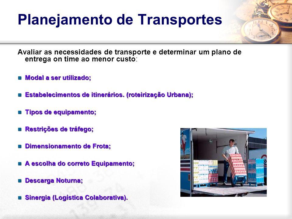 Planejamento de Transportes Avaliar as necessidades de transporte e determinar um plano de entrega on time ao menor custo: Modal a ser utilizado; Moda