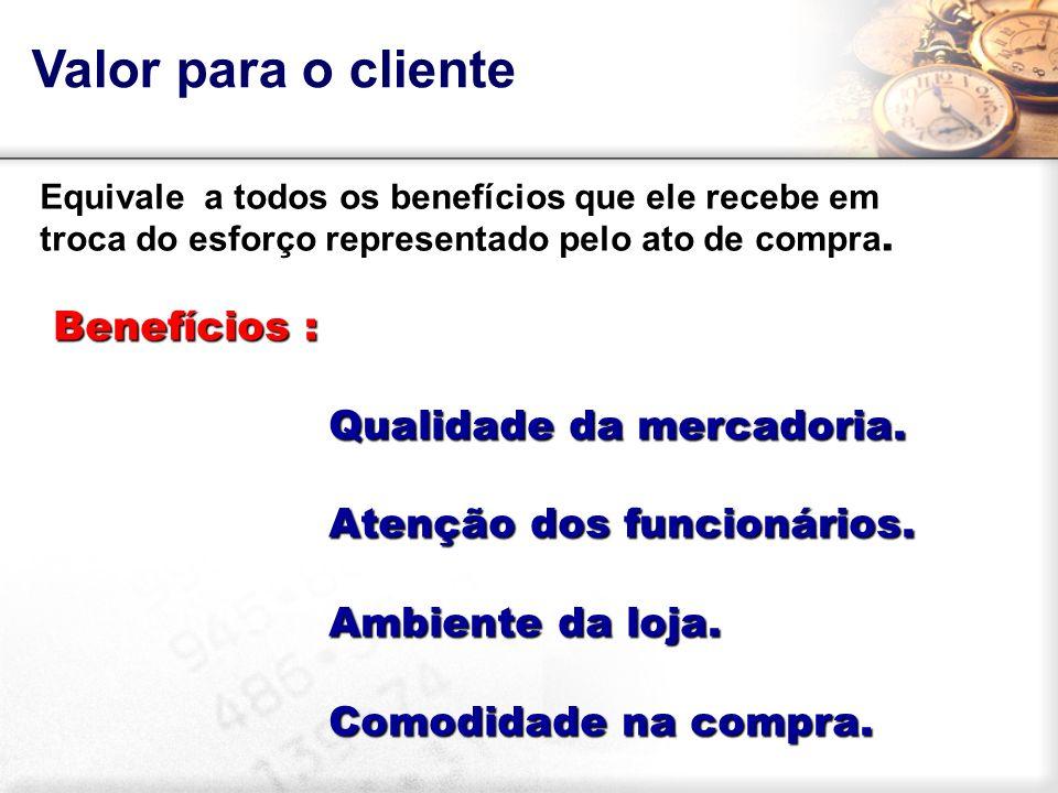 Valor para o cliente Equivale a todos os benefícios que ele recebe em troca do esforço representado pelo ato de compra. Benefícios : Benefícios : Qual