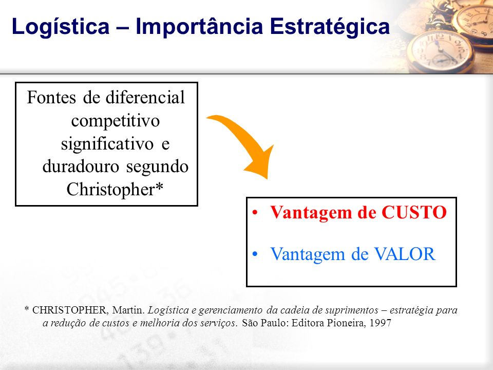 Logística – Importância Estratégica Vantagem de CUSTO Vantagem de VALOR Fontes de diferencial competitivo significativo e duradouro segundo Christophe