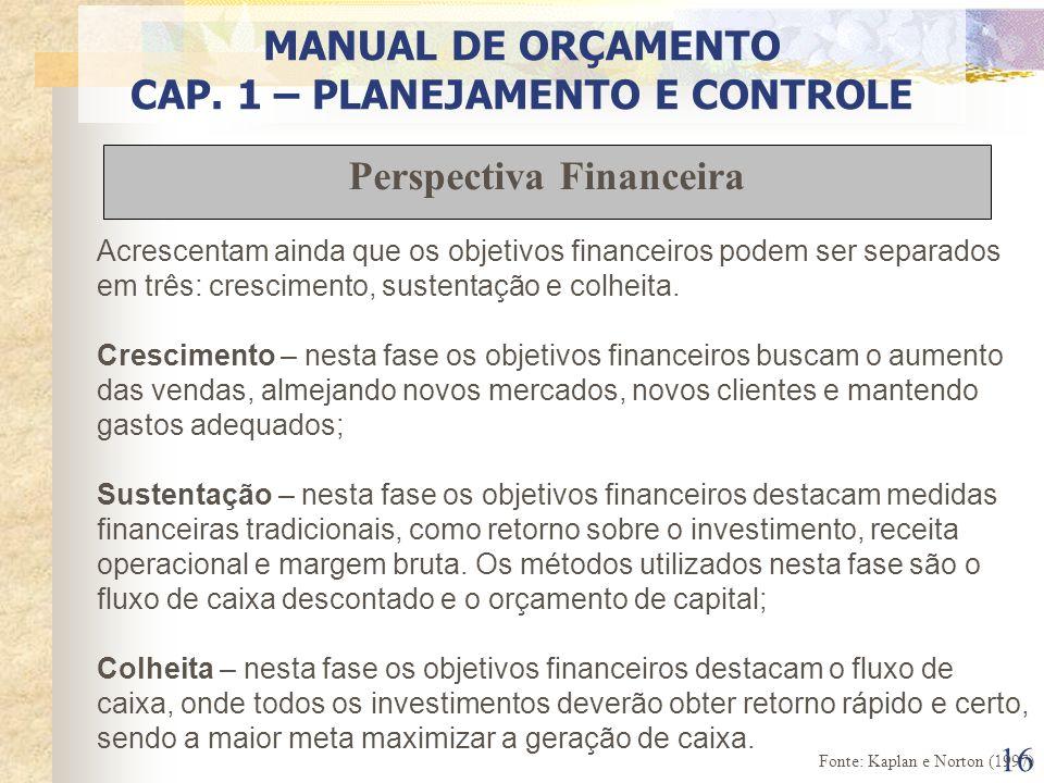 16 Acrescentam ainda que os objetivos financeiros podem ser separados em três: crescimento, sustentação e colheita. Crescimento – nesta fase os objeti