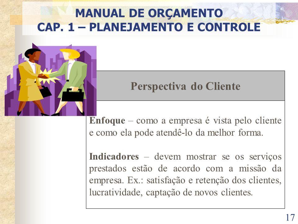 17 Perspectiva do Cliente Enfoque – como a empresa é vista pelo cliente e como ela pode atendê-lo da melhor forma. Indicadores – devem mostrar se os s