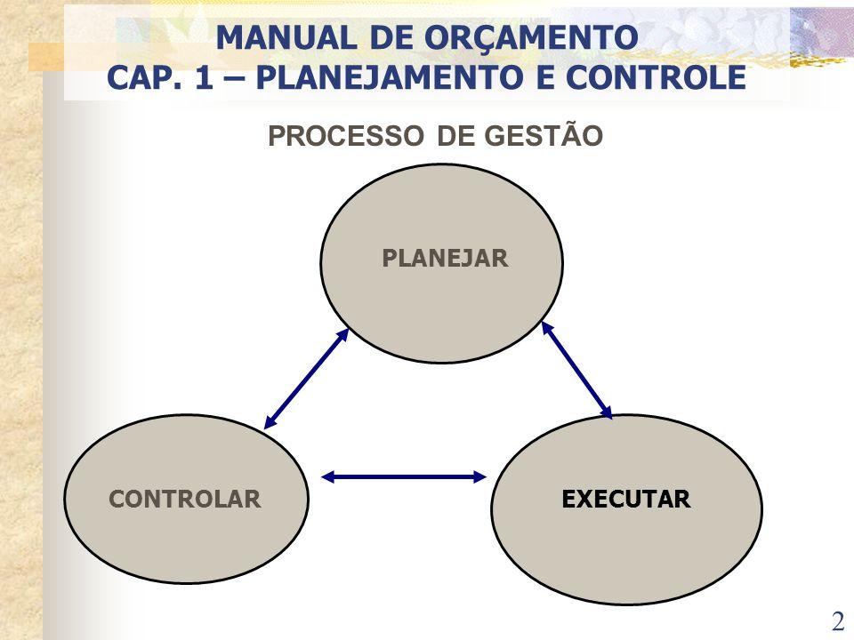 2 MANUAL DE ORÇAMENTO CAP. 1 – PLANEJAMENTO E CONTROLE PROCESSO DE GESTÃO PLANEJAR CONTROLAR EXECUTAR