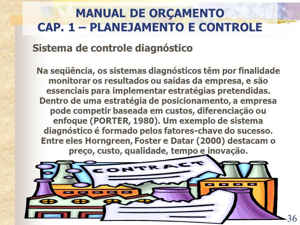 36 Sistema de controle diagnóstico Na seqüência, os sistemas diagnósticos têm por finalidade monitorar os resultados ou saídas da empresa, e são essen