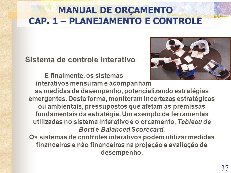 37 Sistema de controle interativo E finalmente, os sistemas interativos mensuram e acompanham as medidas de desempenho, potencializando estratégias em
