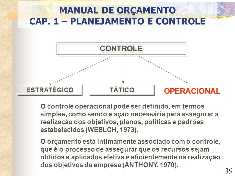 39 CONTROLE ESTRATÉGICOTÁTICO OPERACIONAL O controle operacional pode ser definido, em termos simples, como sendo a ação necessária para assegurar a r