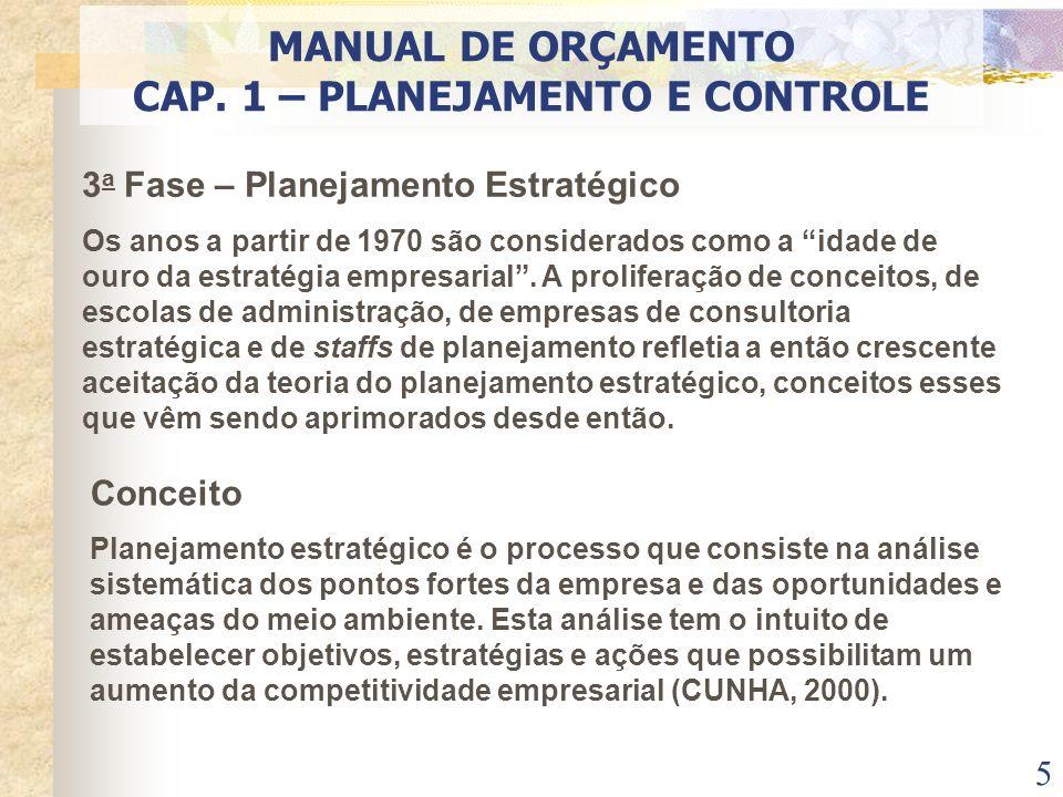 6 PLANEJAMENTO ESTRATÉGICOTÁTICOOPERACIONAL MANUAL DE ORÇAMENTO CAP. 1 – PLANEJAMENTO E CONTROLE