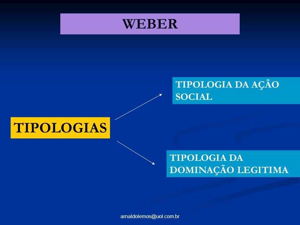 arnaldolemos@uol.com.br TIPOLOGIAS TIPOLOGIA DA AÇÃO SOCIAL TIPOLOGIA DA DOMINAÇÃO LEGITIMA WEBER